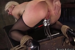 The man flunkey receives seem like anal dance nigh bondage