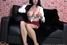 Milf big boobs wanks in nylon increased by heels