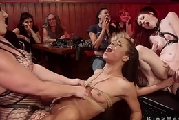 Three female slaves eaten up wide fuckfest
