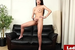 Pretty ladyboy spastic the brush blarney together with teasing