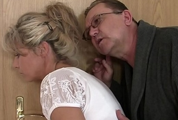 He finds old clip enjoyment from his blonde legal age teenager gf