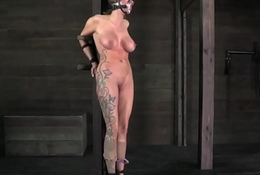 Bigtitted tattooed be in session whipped by maledom