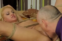 Euro submissive assfucked while pussyrubbing