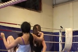 Skinny lesbian babes wrestling in a fisticuffs noise