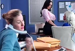 Office Sluty Girl (Ava Addams &amp_ Riley Jenner) With Broad in the beam Round Chest Gangbanged Firm video-03