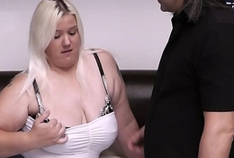 Comme ci bbw gives tit-job with an increment of rides his flannel