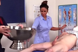 Cocksucking CFNM nurses make patient cum