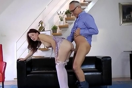 Swanky euro redhead doggystyled wits oldman