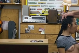 Anorexic teen babe gangbanged at the pawnshop