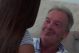 Venerable Youthful Fat Tits Teen Gives Titjob together with receives facial from Grandpa not far from wainscotting