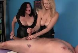 CBT masseuses tremendous rough handjob