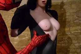 Catwoman takes spiderman&acute_s web on her big titties