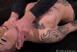 Tattooed slattern got venal lashing