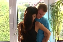 youthful legal age teenager couple slim and mean