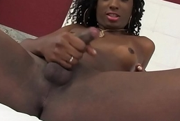 Dastardly trans babe tugging on her cock